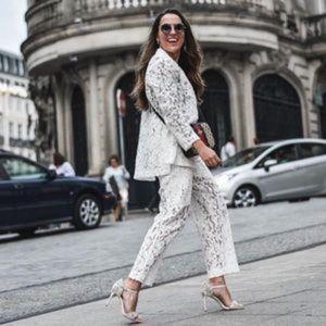 Blogger Favorite Zara Lace Pants Pockets White S